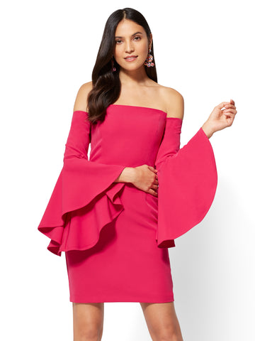 Bell-Sleeve Off-The-Shoulder Sheath Dress  in Primrose