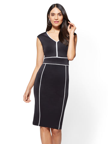 Piped V-Neck Sheath Dress in Black