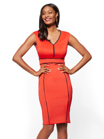 Piped V-Neck Sheath Dress in Red Harbor