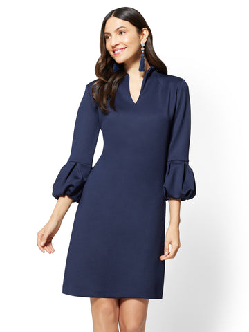 7th Avenue - Balloon-Sleeve Shift Dress in Grand Sapphire
