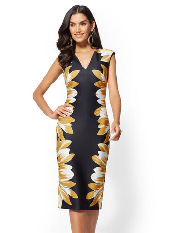 7th Avenue - Floral V-Neck Sheath Dress in Black
