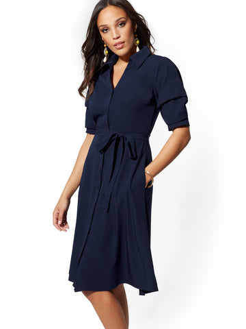 Navy Puff-Sleeve Shirtdress in Grand Sapphire