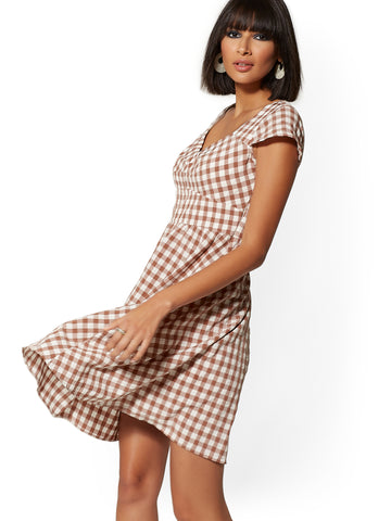 Mocha Gingham Fit & Flare Dress in Modern Mocha