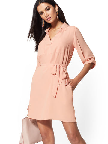 Belted Shirtdress in Pink Sand