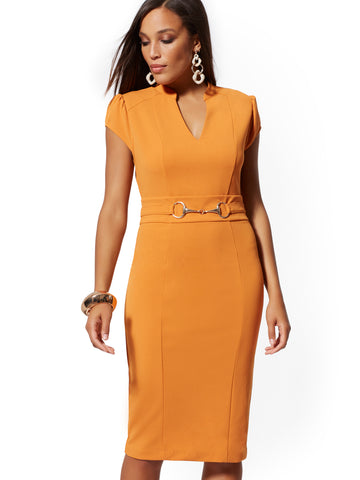 ca7e4638 New York & Company Horsebit-Accent Sheath Dress - 7th Avenue in Honey Glaze