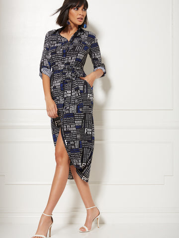 NEW YORK   COMPANY Black Newsprint Belted Shirtdress in Black 13a20eab1