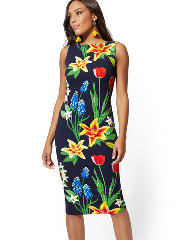 d85ddc33 New York & Company Floral Scuba Dress in Grand Sapphire
