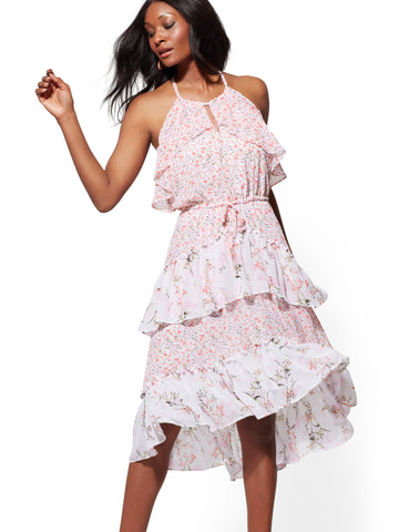 1a7d14788e New York   Company Floral Halter Tiered Hi-Lo Dress in Light Pink