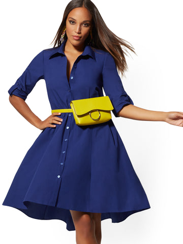Belted Poplin Shirtdress in Amplified Blue