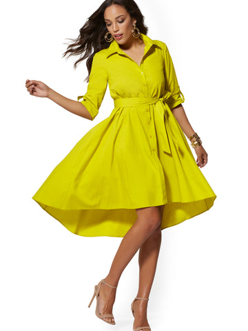 Chartreuse Belted Poplin Shirtdress in Renewing Green