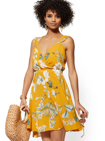 Yellow Palm-Print Tie-Back Flare Dress in Costa Rican Gold