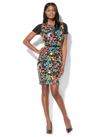 Floral-Embroidered Sheath Dress in Black