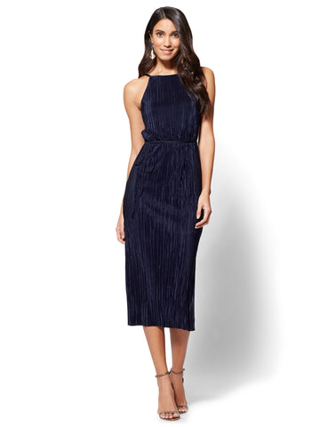 Pleated Midi Halter Dress in Grand Sapphire