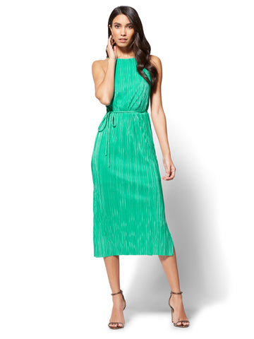 Pleated Midi Halter Dress in Mojito Madness