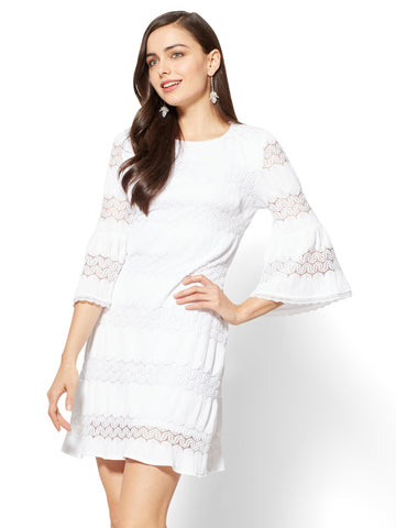 7th Avenue Textured Lace Shift Dress  in Optic White