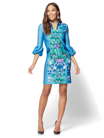 Floral Shift Dress in Bluish Sky
