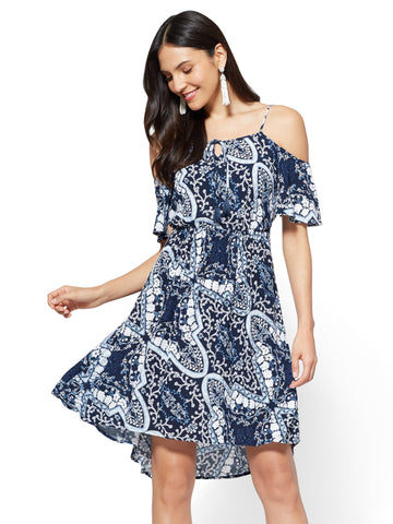 Cold-Shoulder Lace-Up Dress in Grand Sapphire
