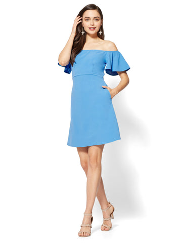 Off-The-Shoulder Dress in Virtuous Blue