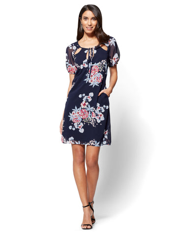 Cutout Chiffon Shift Dress - Floral in Grand Sapphire