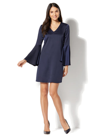 V-Neck Shift Dress - Navy in Grand Sapphire