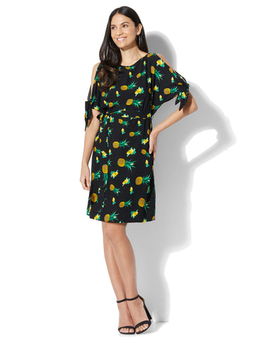 Belted Cold-Shoulder Dress - Fruit Print in Black