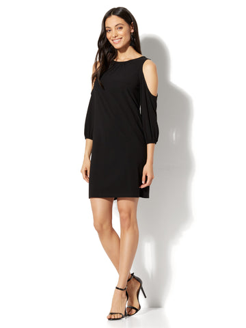 Cold-Shoulder Shift Dress in Black