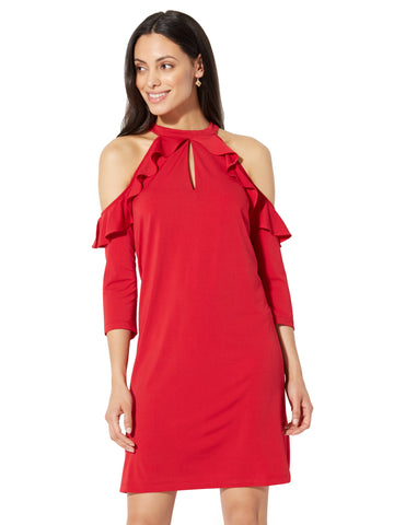 Cold-Shoulder Ruffle Shift Dress in Red Alert