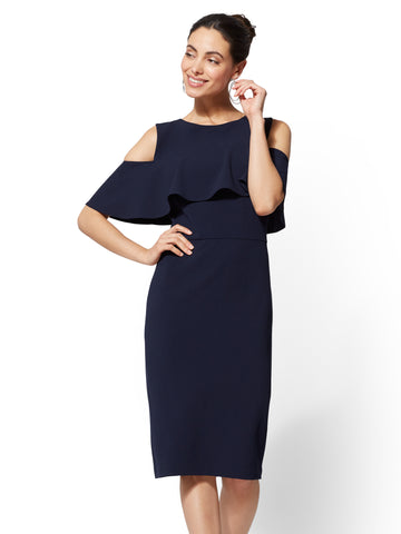 Bare-Shoulder Sheath Dress in Grand Sapphire