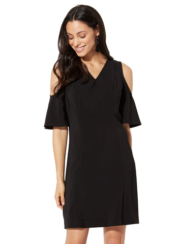 Cold-Shoulder A-Line Dress in Black