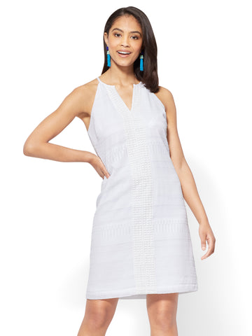 Crochet-Trim Halter Shift Dress in Paper White