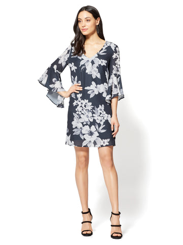 V-Neck Shift Dress - Floral in Black
