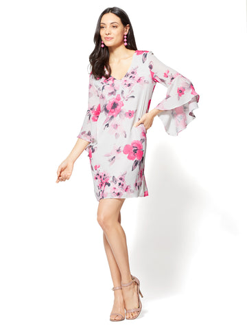 V-Neck Shift Dress - Floral in Pink