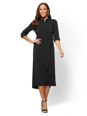 Belted Midi Shirt Dress in Black