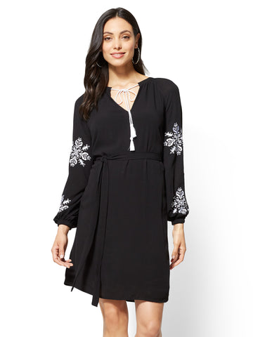 Embroidered Peasant Dress in Black
