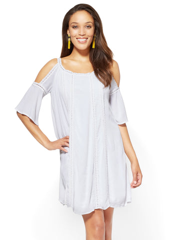 Crochet-Trim Cold-Shoulder Shift Dress in Optic White