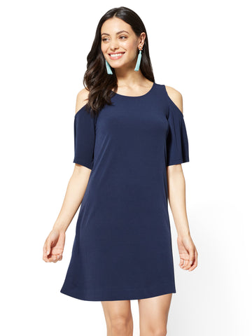 Cold-Shoulder Shift Dress in Grand Sapphire