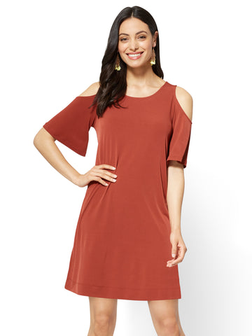 Cold-Shoulder Shift Dress in Spiced Curry
