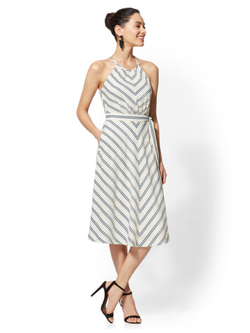7th Avenue Fit and Flare Dress - Stripe in Baked Ivory