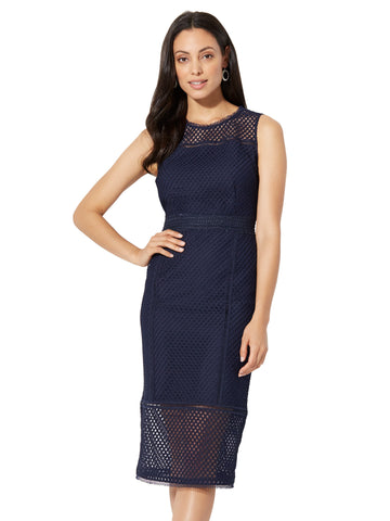 Lace-Mesh Sheath Dress in Grand Sapphire
