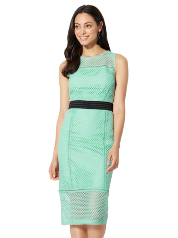 Lace-Mesh Sheath Dress in Creamy Mint