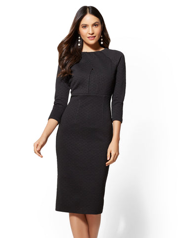 Crossover-Detail Sheath Dress in Black