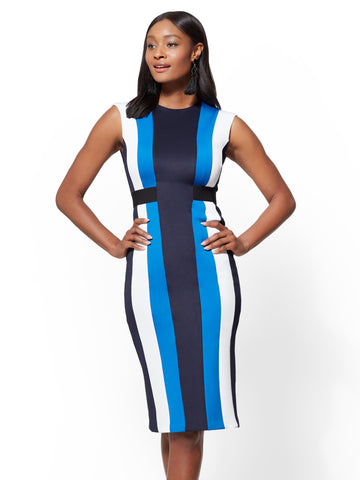 Colorblock Sheath Dress - Blue in Fleetweek Blue