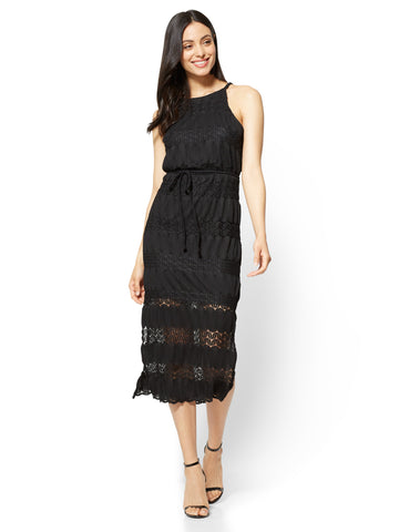 Lace-Overlay Halter Midi Dress in Black