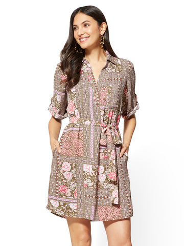Popover Shirtdress - Floral & Graphic Print in Union Square Green