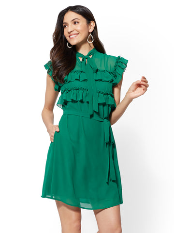 Ruffled Belted Shift Dress in Glenwood Green