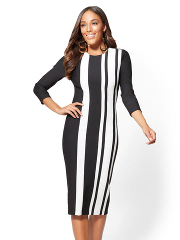 3/4-Sleeve Sheath Dress - Stripe in Black
