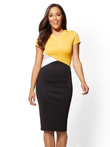 7th Avenue - Colorblock Sheath Dress in Sunflower Garden
