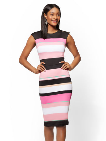 7th Avenue - Button-Accent Striped Dress in Park Avenue Pink
