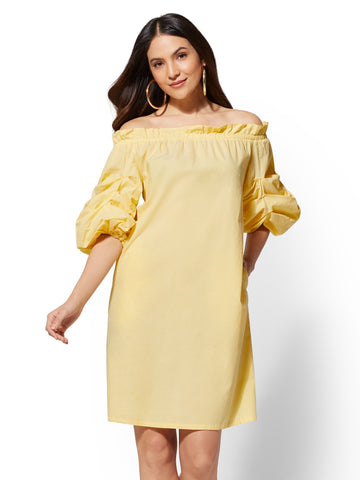 Ruched-Sleeve Off-The-Shoulder Shift Dress in Sunlight