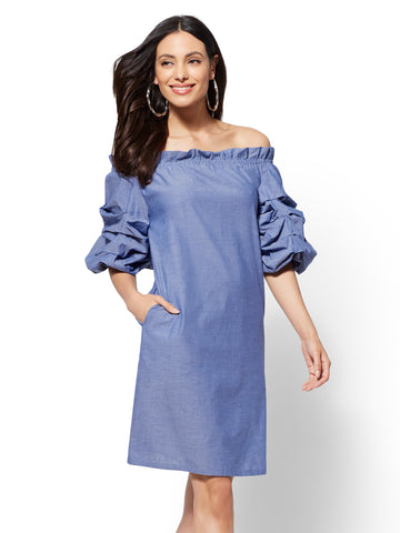 Ruched-Sleeve Off-The-Shoulder Shift Dress in Blue